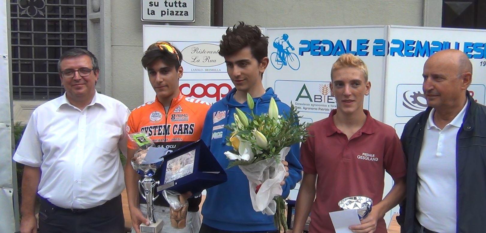 Il podio Esordienti 2° anno della cronometro di San Pellegrino Terme vinta da Dario Igor Belletta