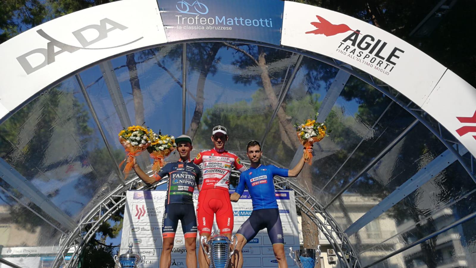 Il podio del Trofeo Matteotti 2018 vinto da Davide Ballerini