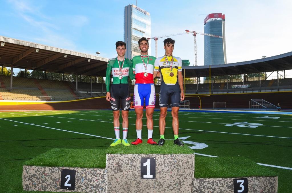 Il podio del Campionato Italiano Omnium Juniores