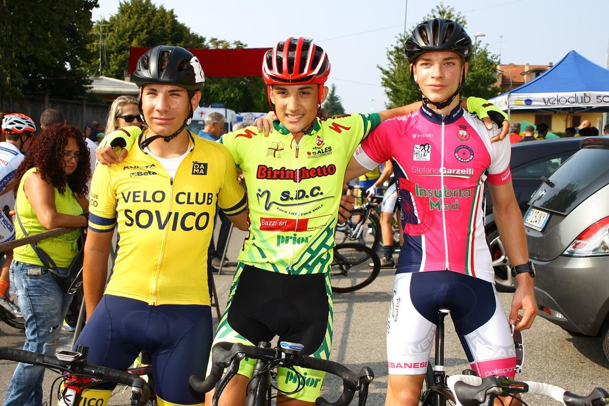 Il podio della gara unica Esordienti di San Giorgio su Legnano