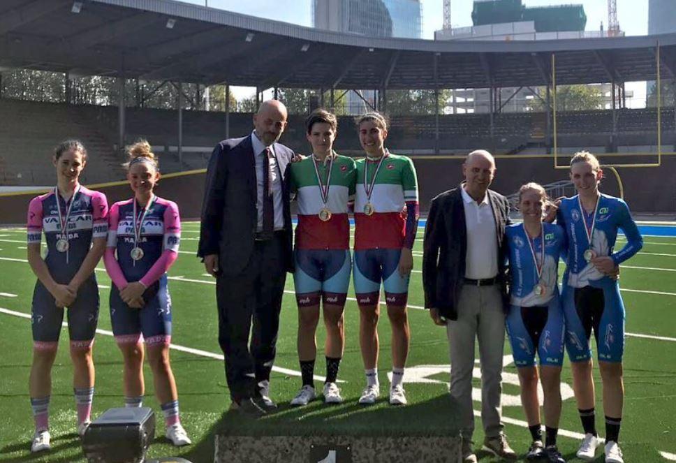 Il podio del Campionato Italiano Madison Donne Elite
