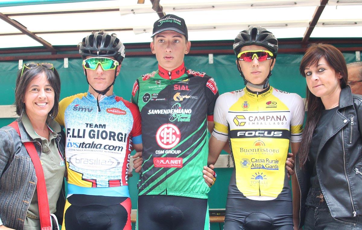 Il podio della Orsago - Col Alt vinta da Federico Guzzo