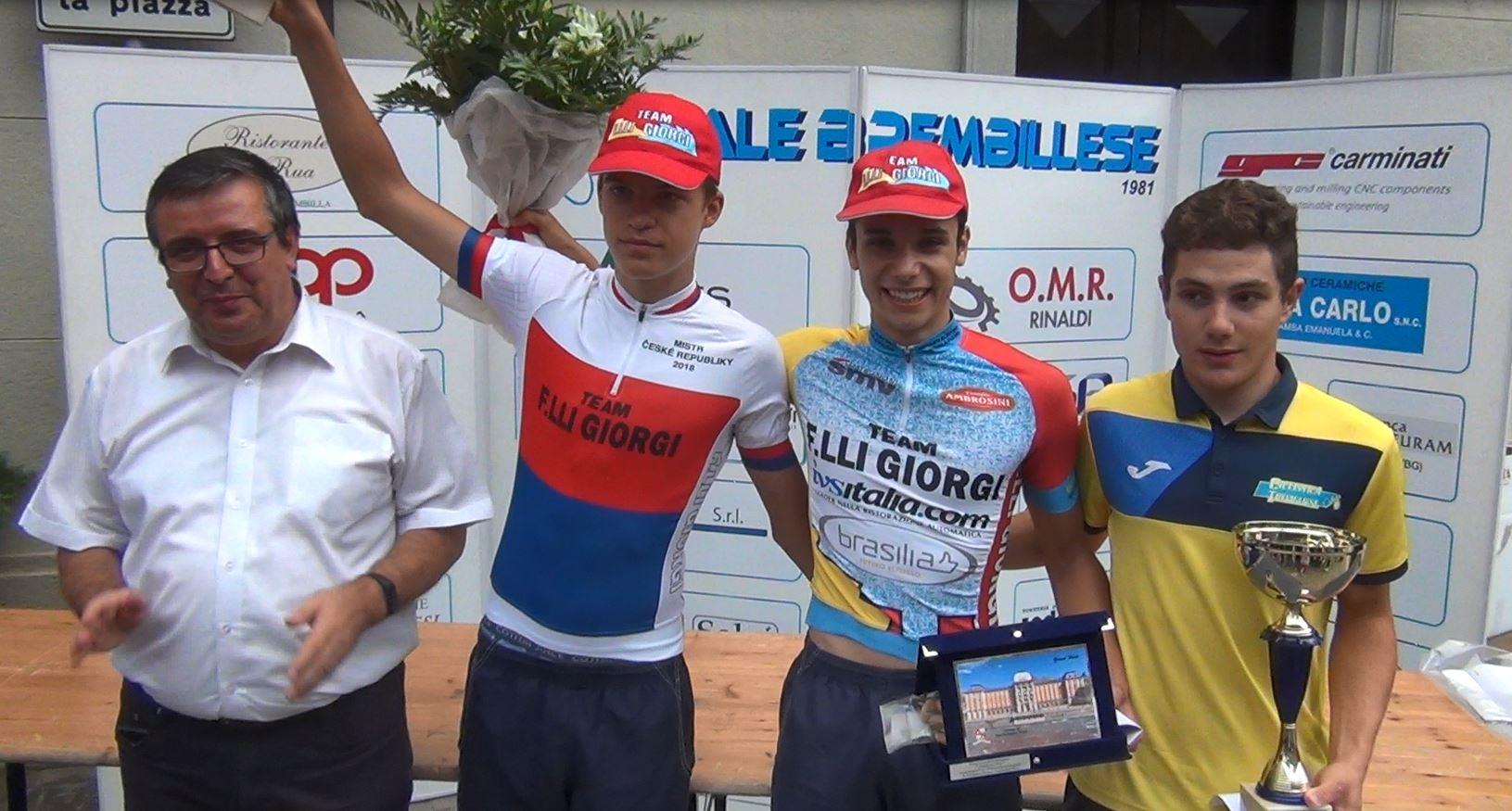 Il podio Allievi della cronometro di San Pellegrino Terme vinta da Andrea D'Amato
