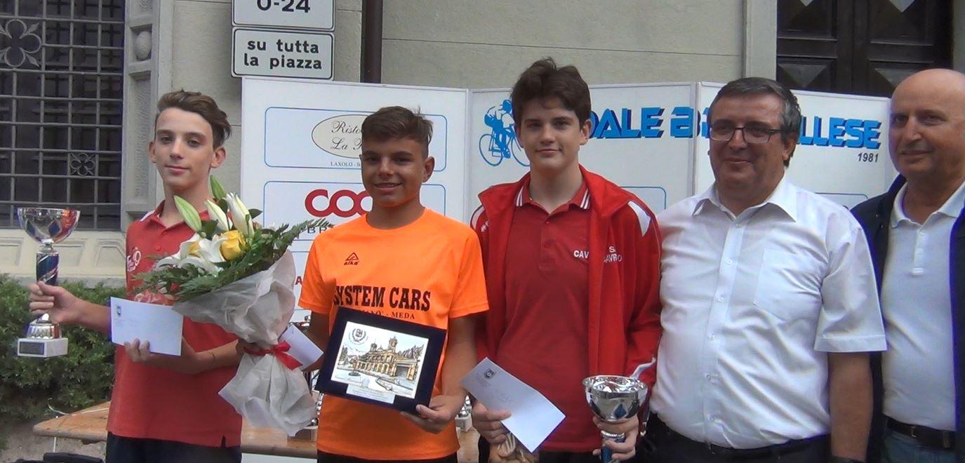 Il podio Esordienti 1° anno della cronometro di San Pellegrino Terme vinta da Matteo Fiorin