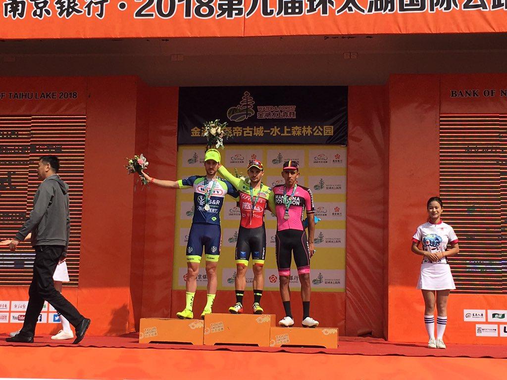 Il podio della terza tappa del Tour of Taihu Lake vinta da Jakub Mareczko