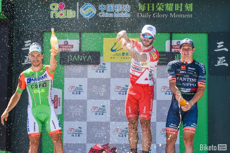 Il podio della settima tappa del Tour of Hainan 2018