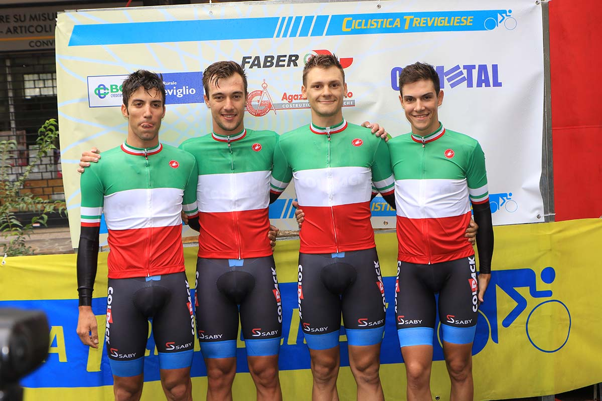 I ragazzi del Team Colpack vincono il Campionato Italiano cronometro a squadre Under 23 2018 (foto Fabiano Ghilardi)