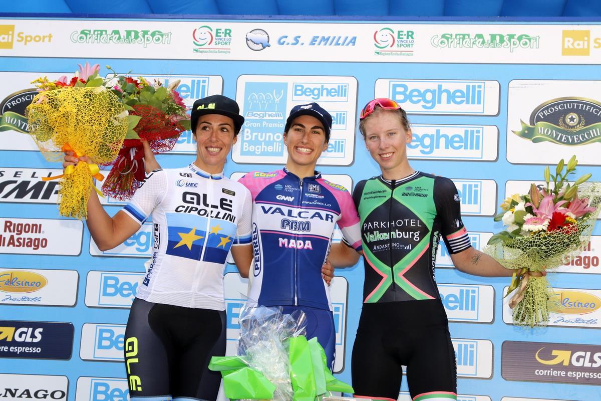 Il podio del Gp Beghelli femminile 2018