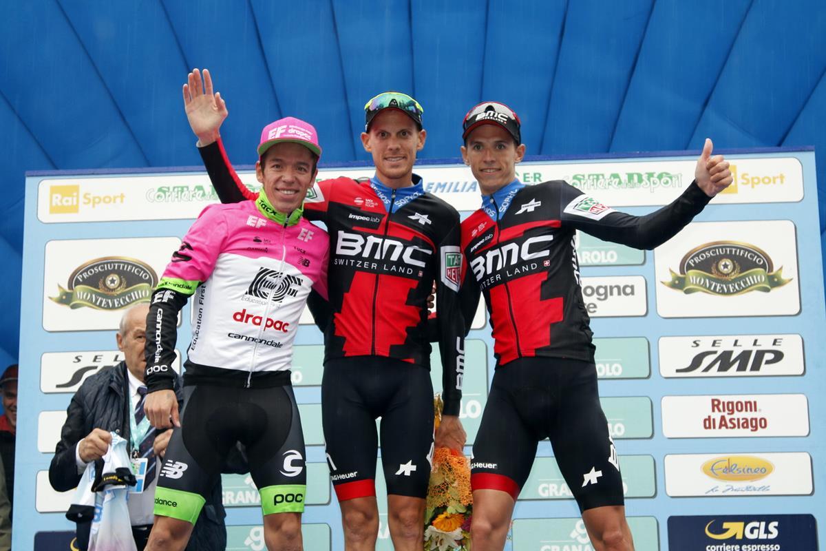Il podio del Giro dell'Emilia 2018