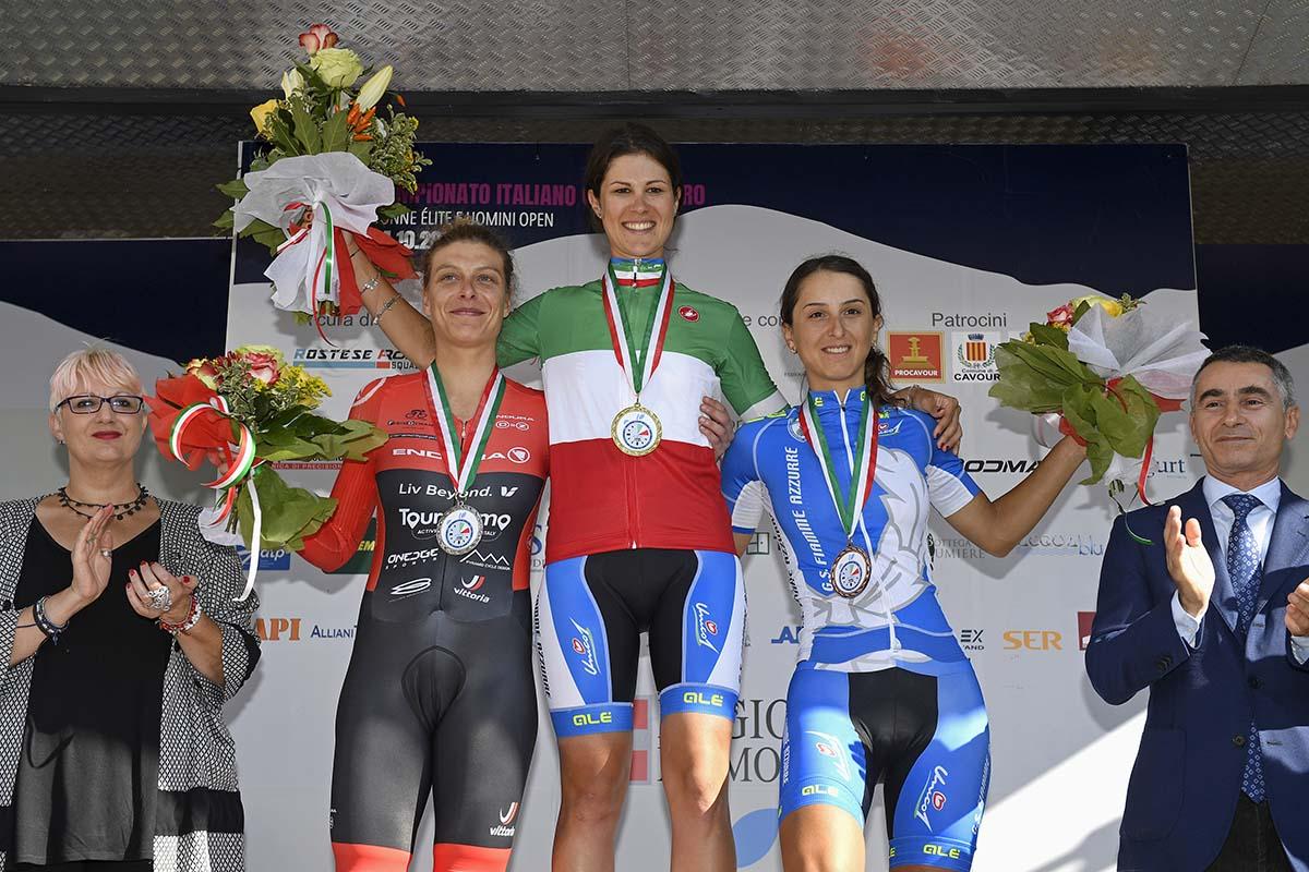 Il podio del Campionato Italiano a cronometro Donne Elite a Cavour vinto da Elena Cecchini