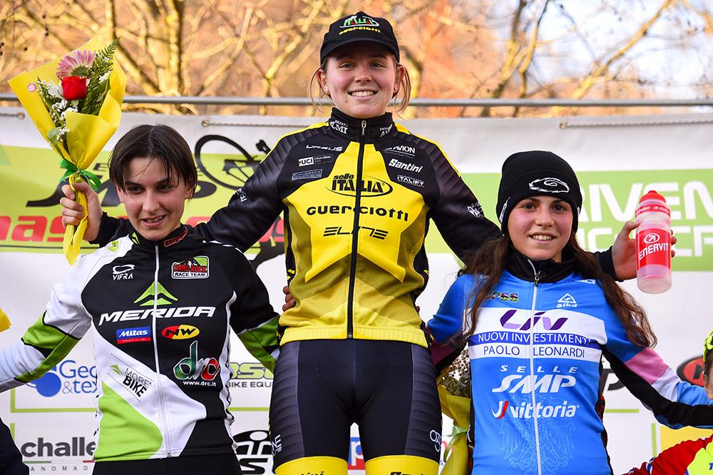 Il podio Donne Elite del Ciclocross di Gorizia
