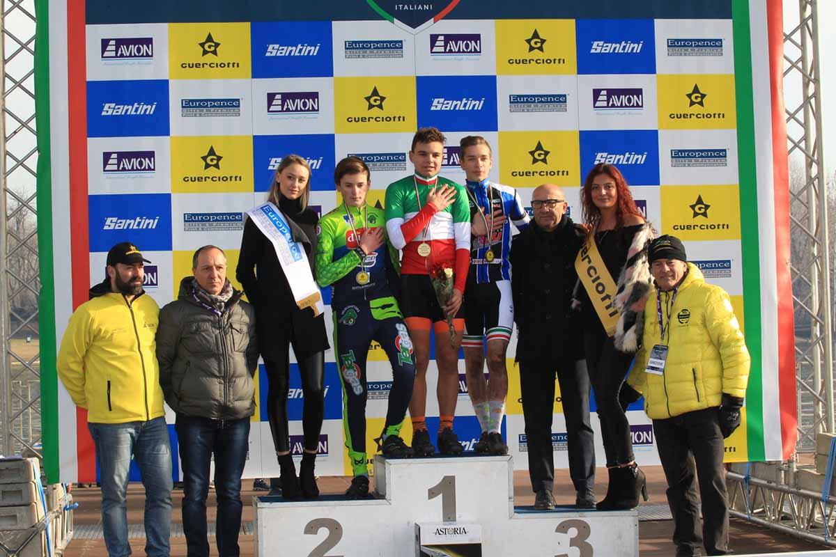 Il podio del Campionato Italiano Ciclocross Esordienti 1° anno vinto da Matteo Fiorin
