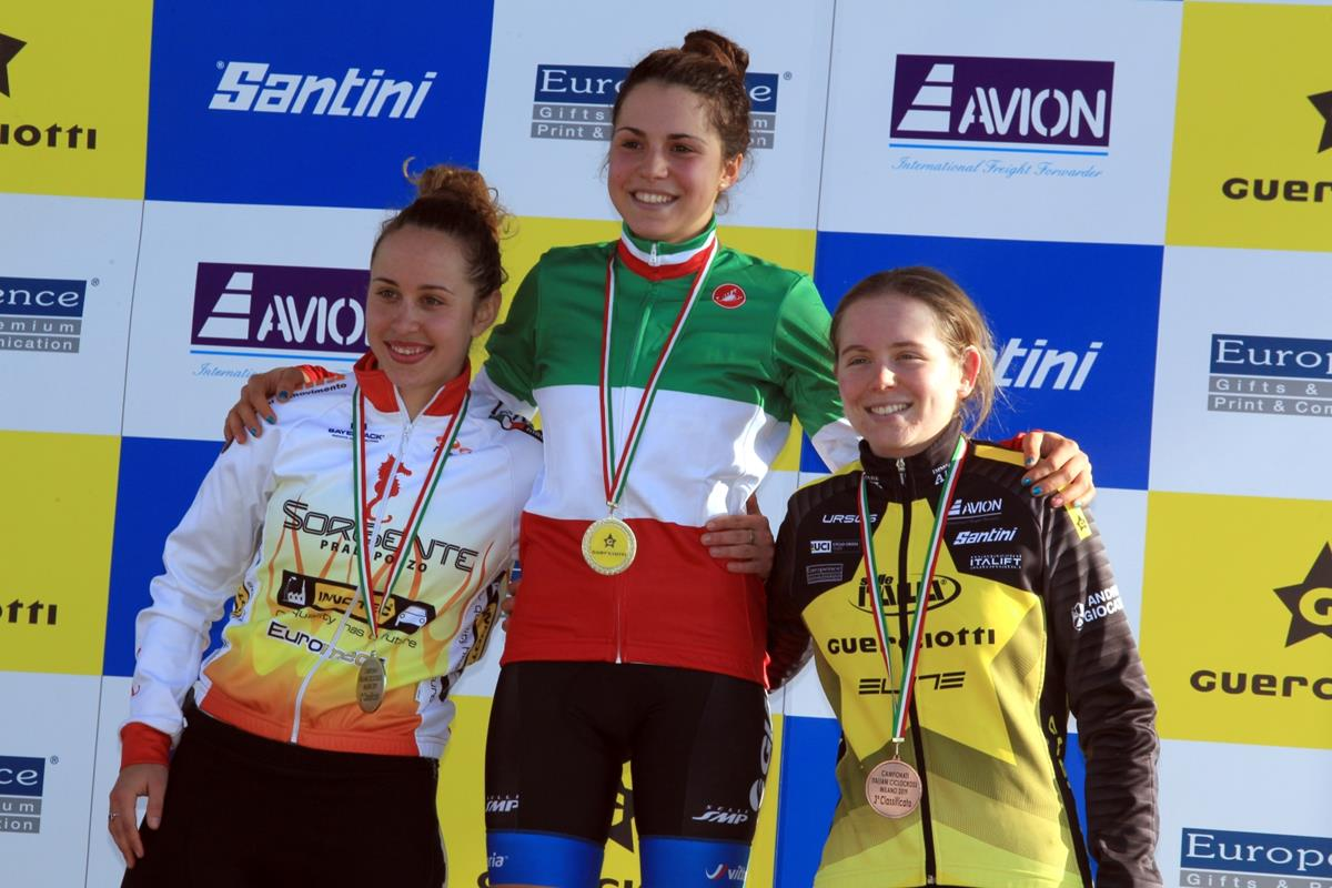 Il podio del Campionato Italiano Ciclocross Donne Under 23