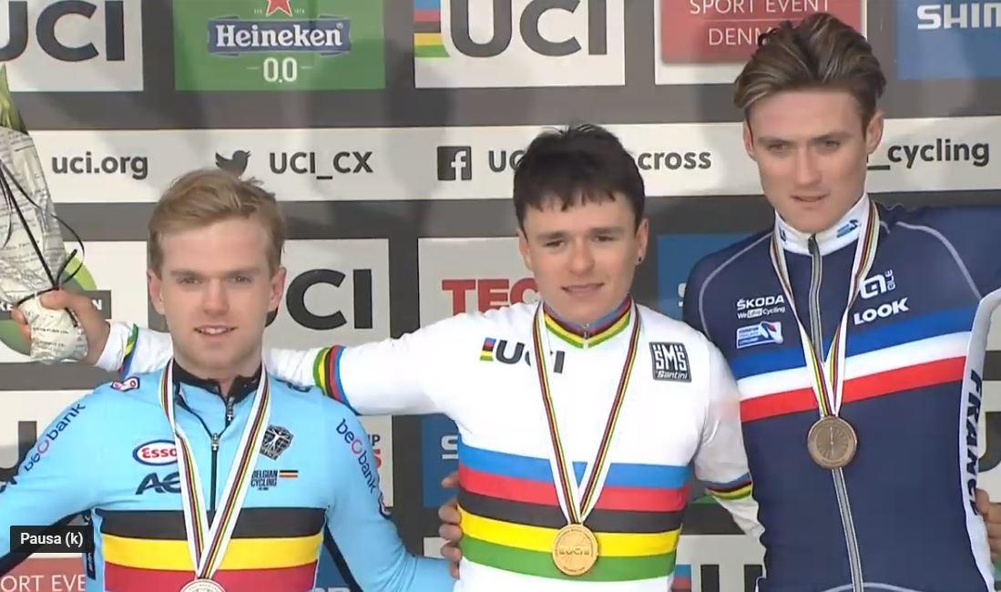 Il podio del Campionato del Mondo di Ciclocross Under 23 2019 a Bogense