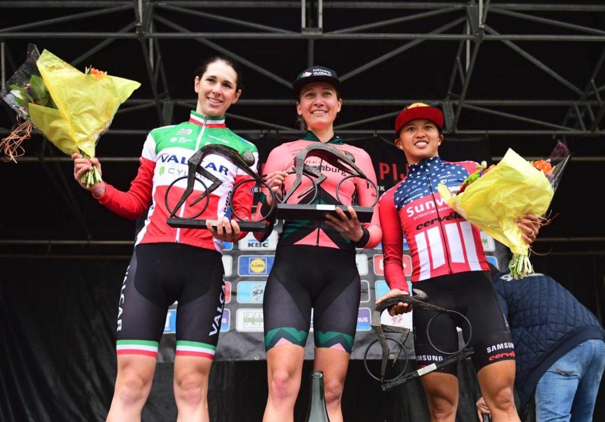 Il podio della Freccia del Brabante femminile (foto Twila Muzzi)