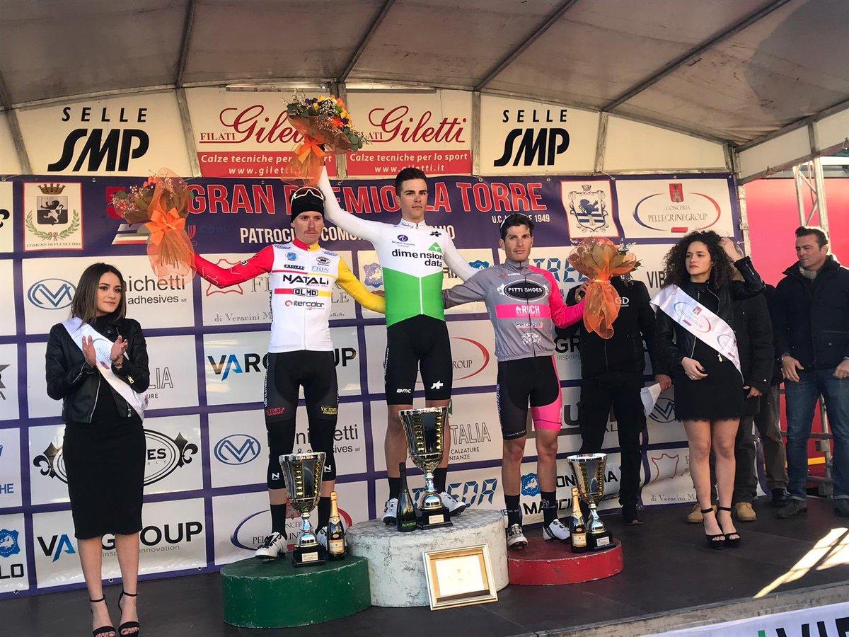 Il podio del Gp La Torre vinto da Samuele Battistella
