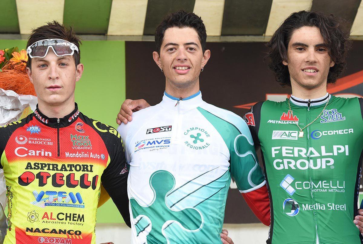 Il podio di Puegnago con Yuri Brioni campione lombardo degli Studenti Juniores