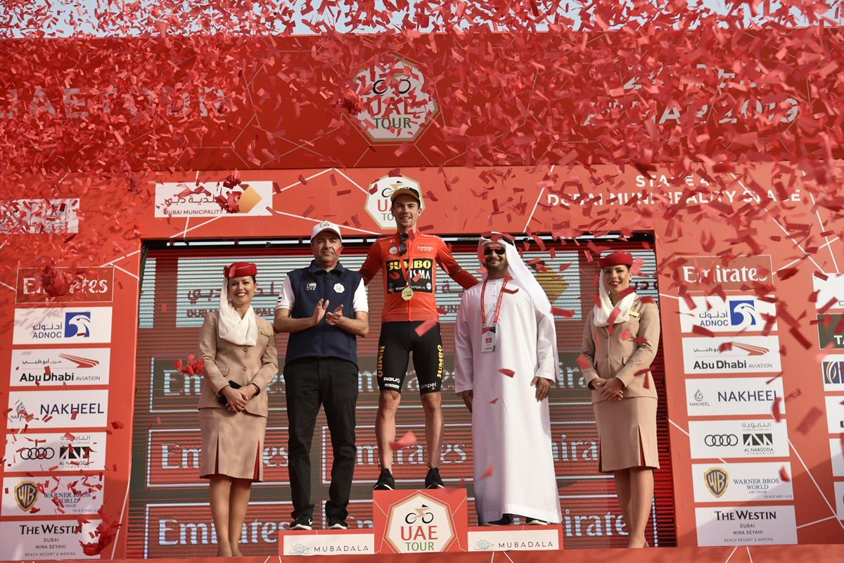 Primoz Roglic leader all'UAE Tour (foto LaPresse)
