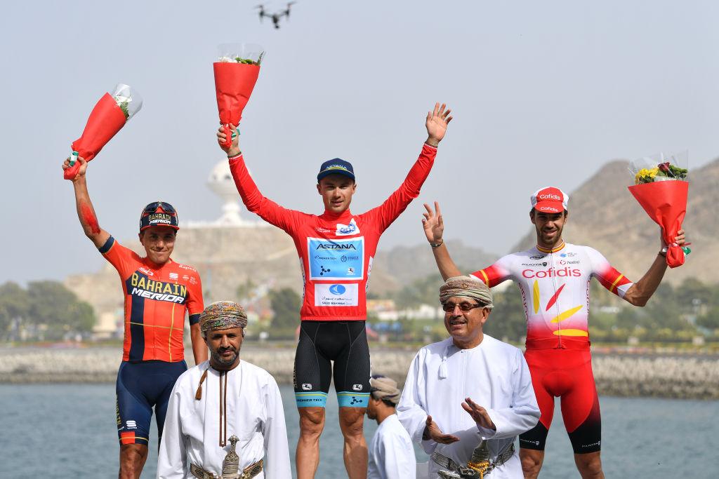 Il podio finale del Tour of Oman 2019 vinto da Alexey Lutsenko