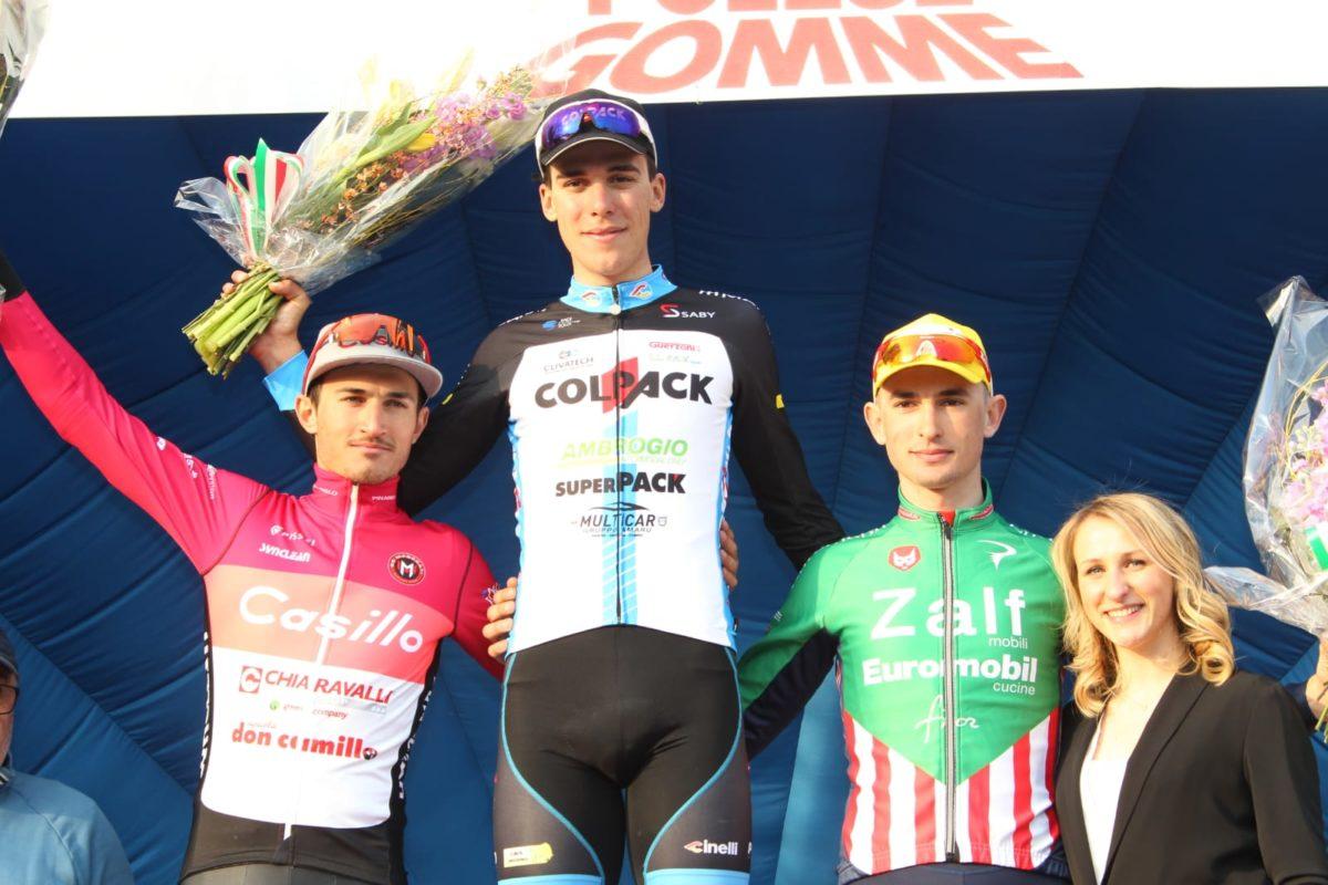 Il podio del 26° Memorial Polese vinto da Giulio Masotto (foto Bolgan)