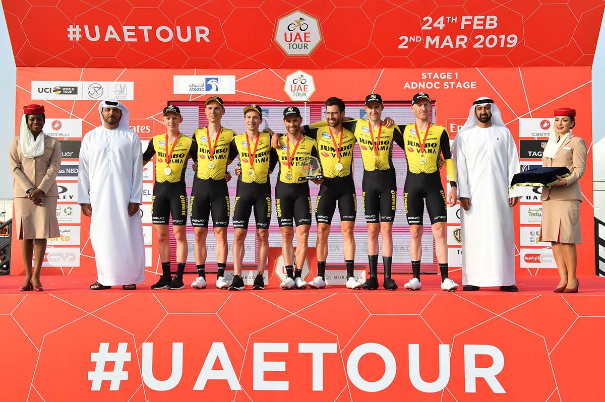La Jumbo-Visma vince la cronosquadre dell'UAE Tour (Foto LaPresse)