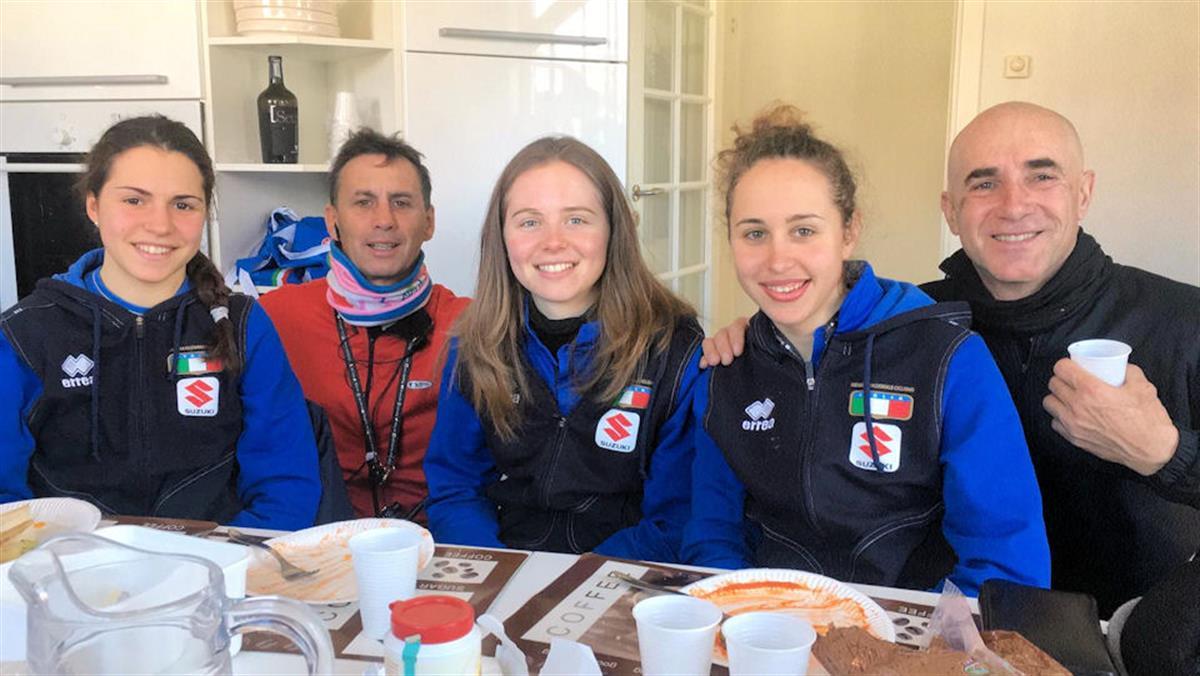 Le azzurre Under 23 con i tecnici Fausto Scotti e Luigi Bielli