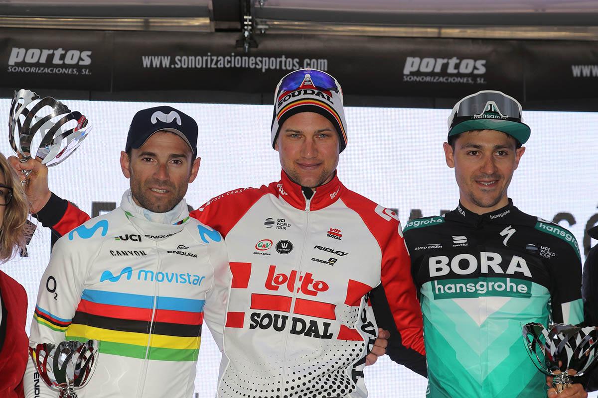 Il podio del Trofeo de Tramuntana, terza prova della Challenge Mallorca 2019 vinta da Tim Wellens