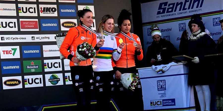 Il podio del Campionato del Mondo di Ciclocross Donne Under 23 2019 a Bogense