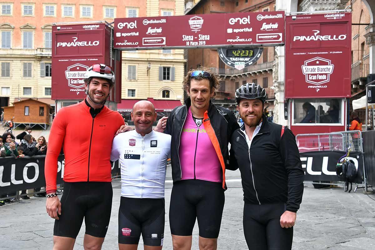 Da sinistra: Ignazio Moser, Paolo Bettini, Filippo Pozzato e Luca Paolini (foto LaPresse)