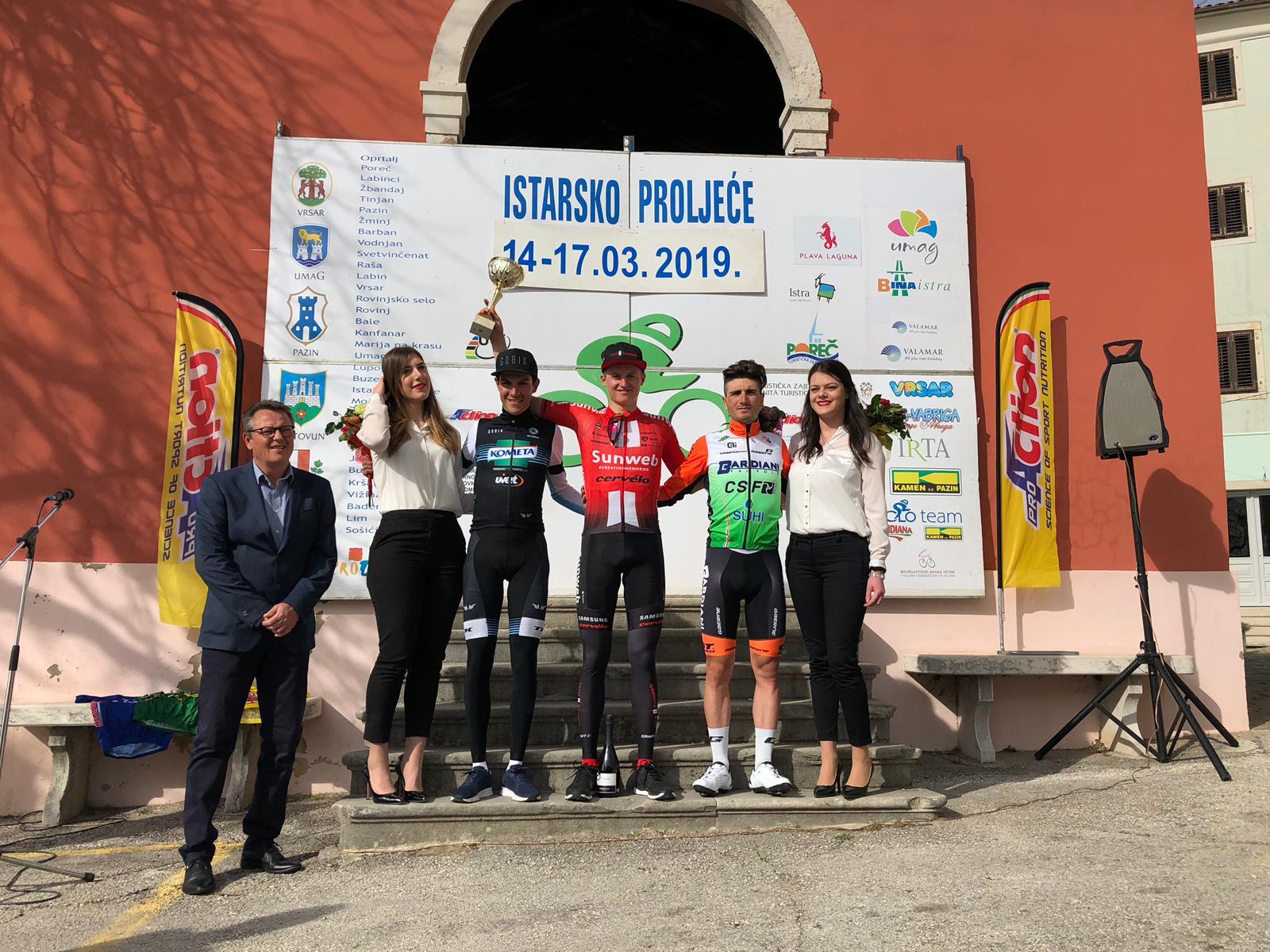 Il podio della seconda tappa dell'Istrian Spring Trophy 2019