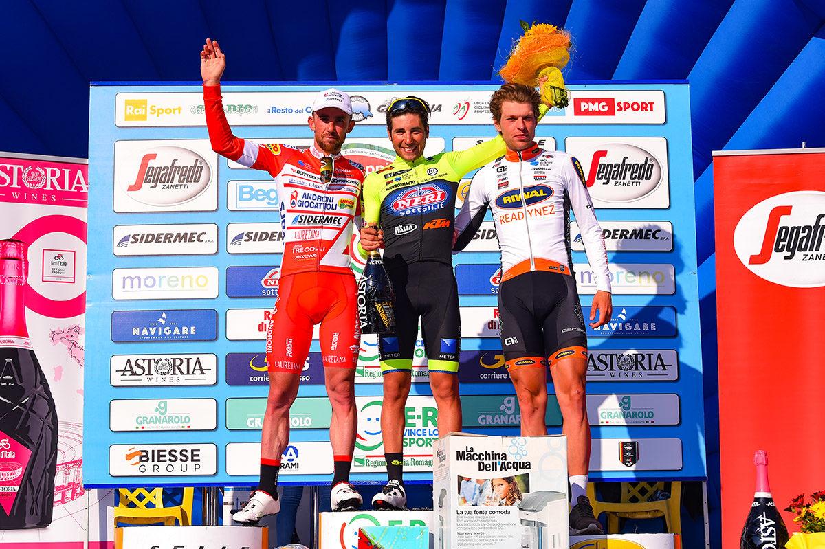 Il podio della terza tappa della Settimana Coppi e Bartali 2019 (foto Dario Belingheri/BettiniPhoto)