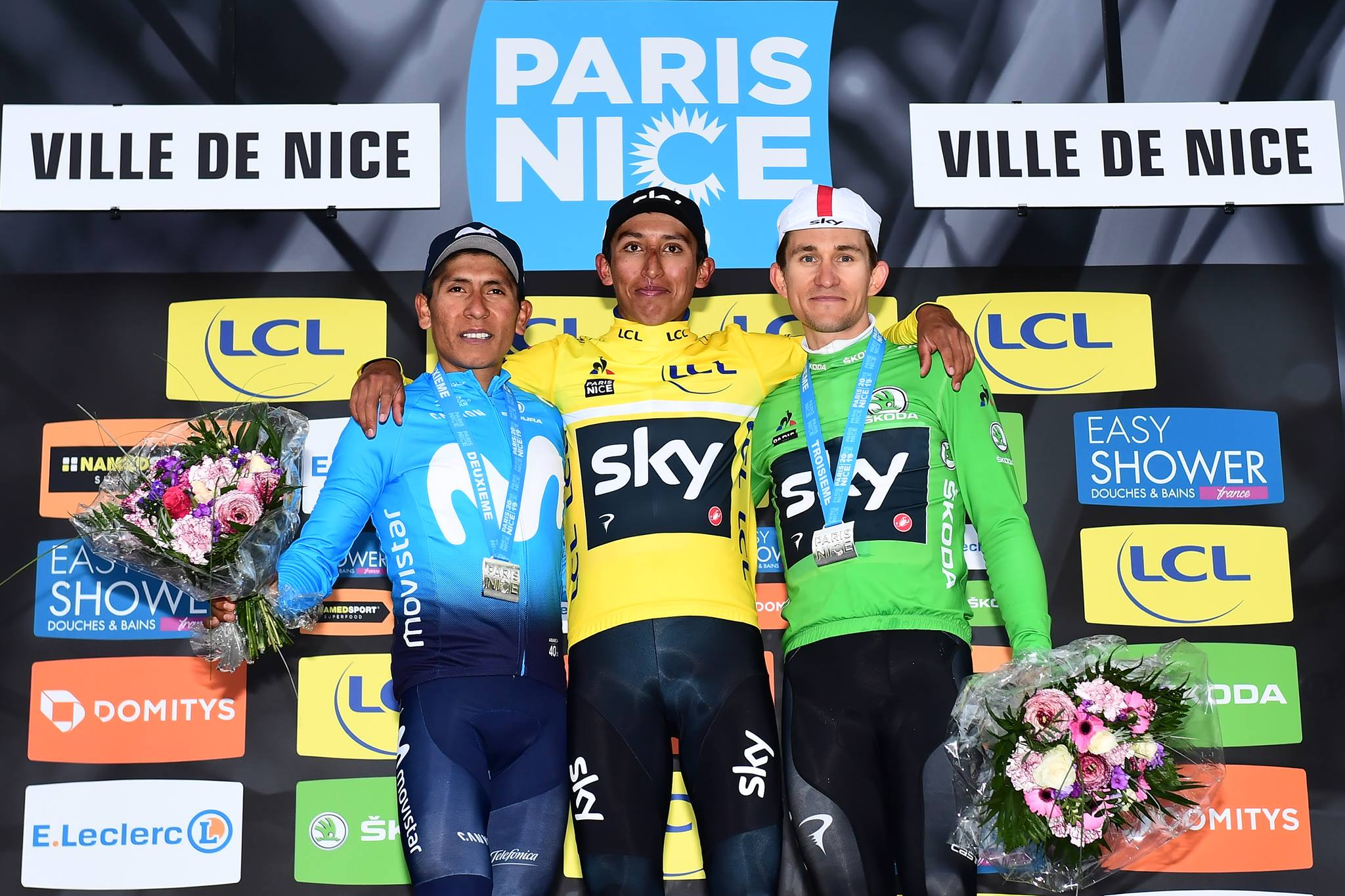 Il podio finale della Parigi-Nizza 2019 vinta da Egan Bernal