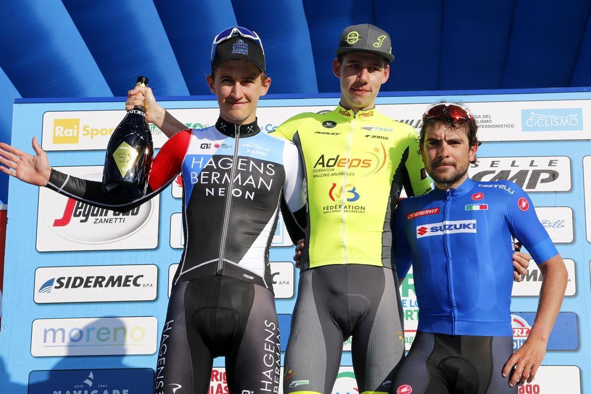 Il podio della quarta tappa della Settimana Coppi e Bartali 2019 (foto Photobicicailotto)