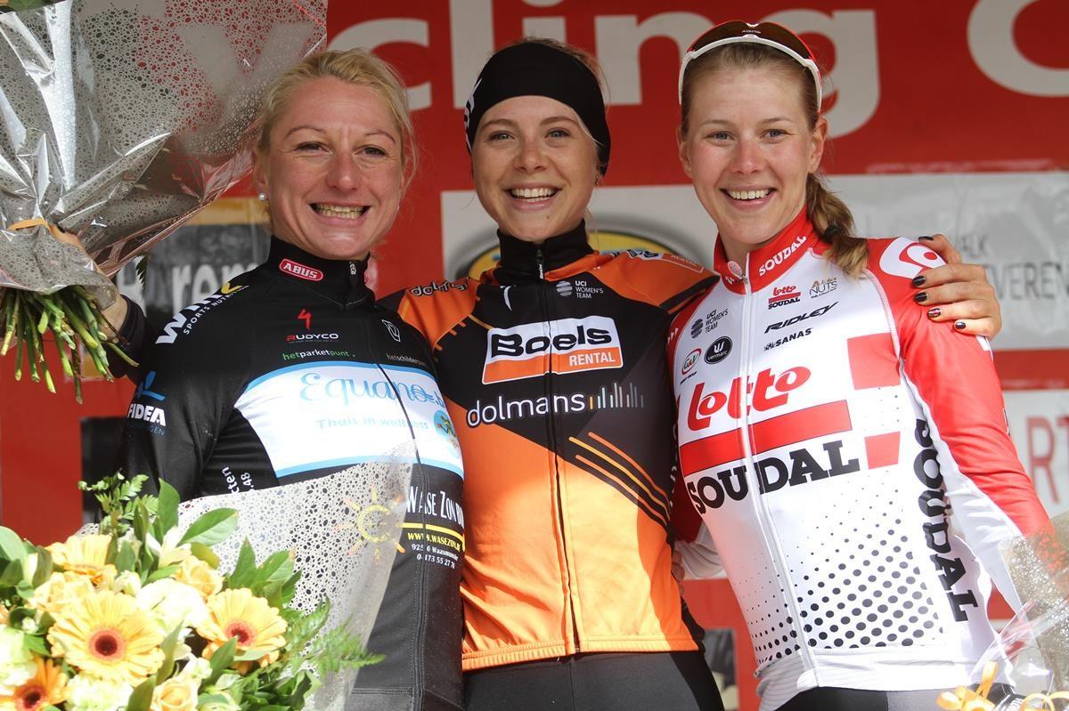 Il podio di Le Samyn des Dames 2019 (foto Sportfoto.nl)