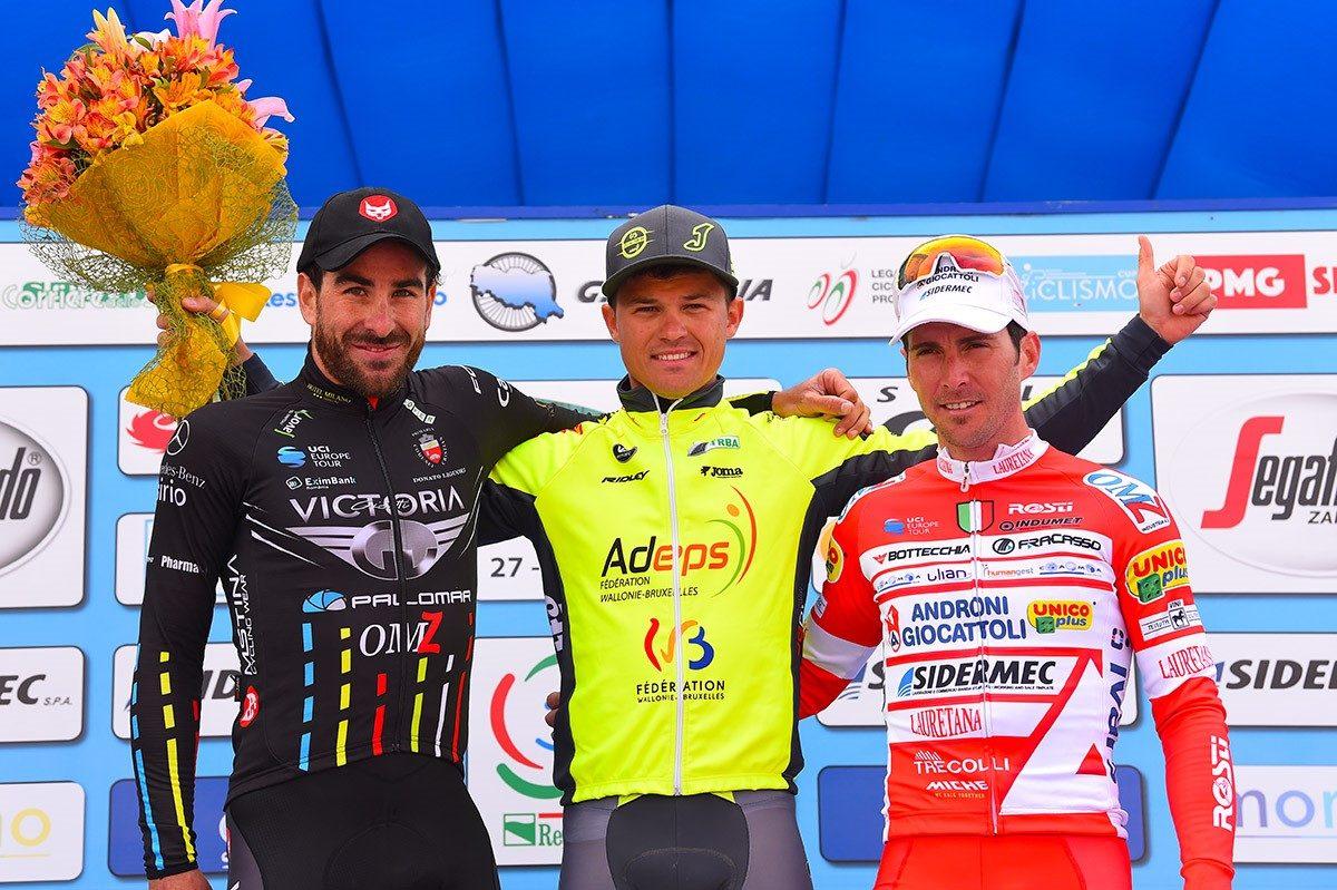 Il podio della prima semitappa di apertura della Settimana Coppi e Bartali 2019 (foto Bettini)