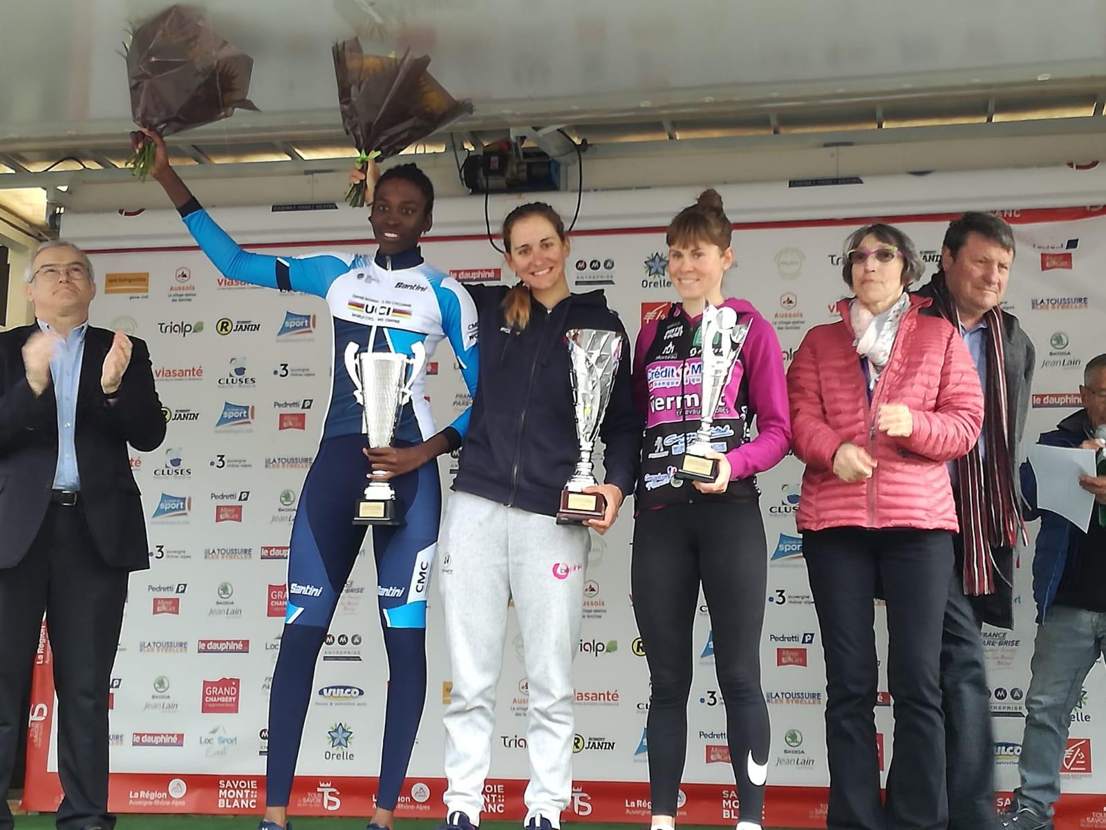 Il podio del Grand Prix Féminin de Chambéry vinto da Katia Ragusa