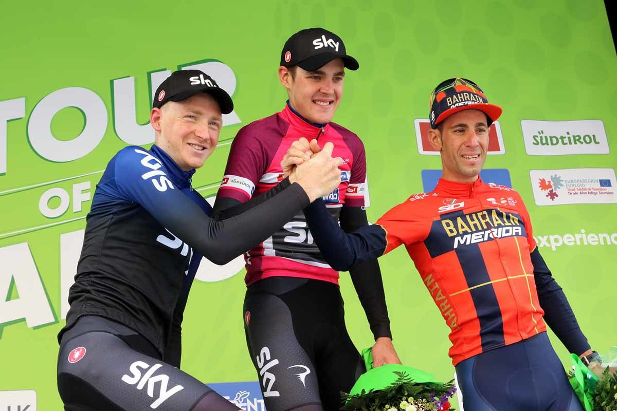 Il podio finale del Tour of the Alps 2019 (foto Photobicicailotto)