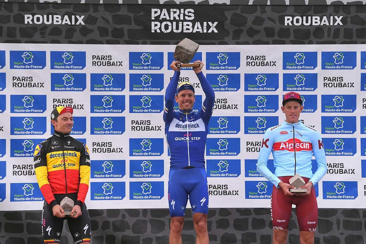 Il podio della Parigi-Roubaix 2019 (foto Tim de Waele/Getty Images)