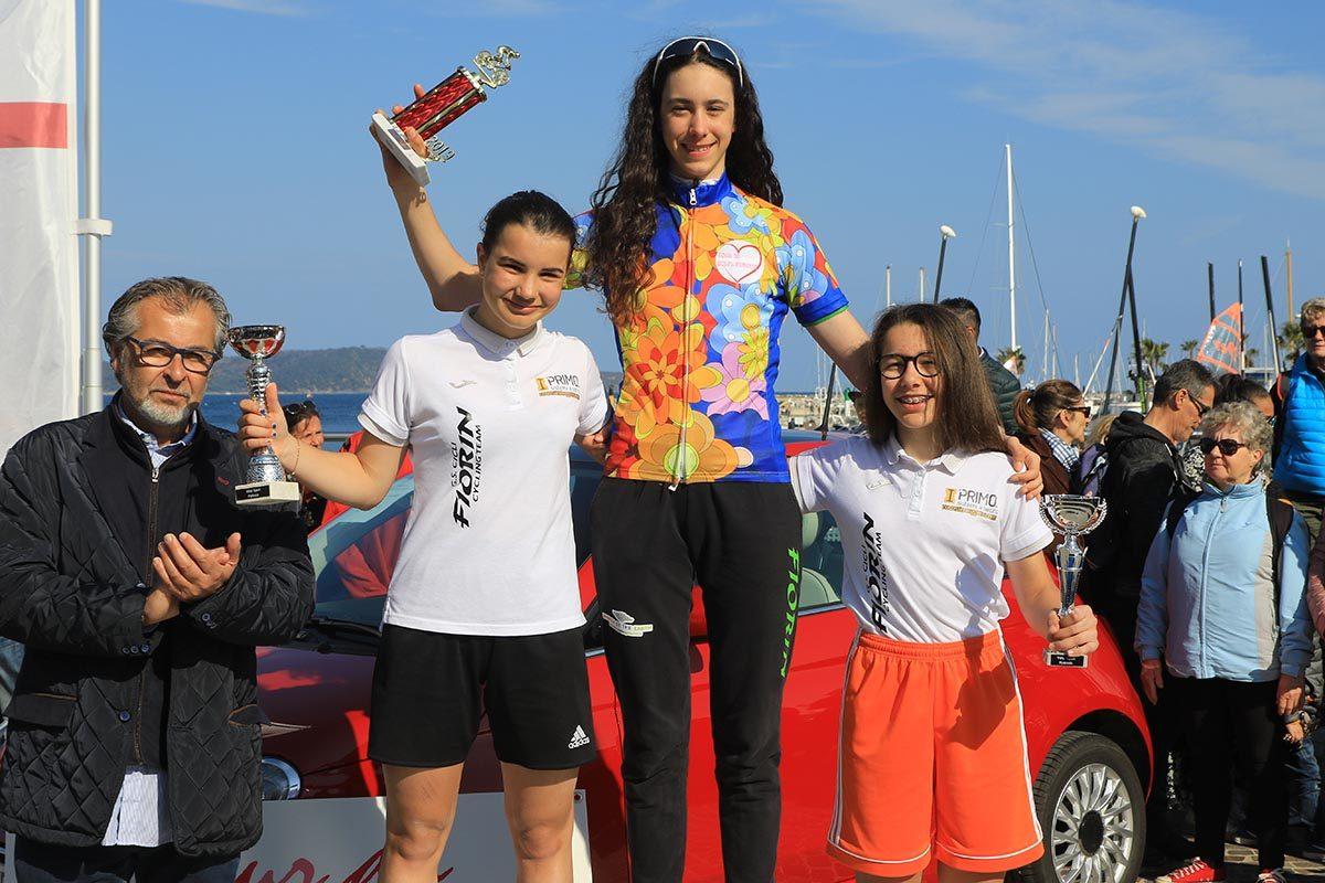 Il podio Donne Esordienti (foto Fabiano Ghilardi)
