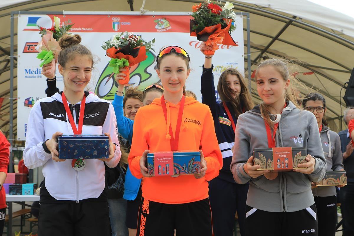 Il podio delle Donne Esordienti 1° anno, prima Alessia Zambelli (foto Fabiano Ghilardi)