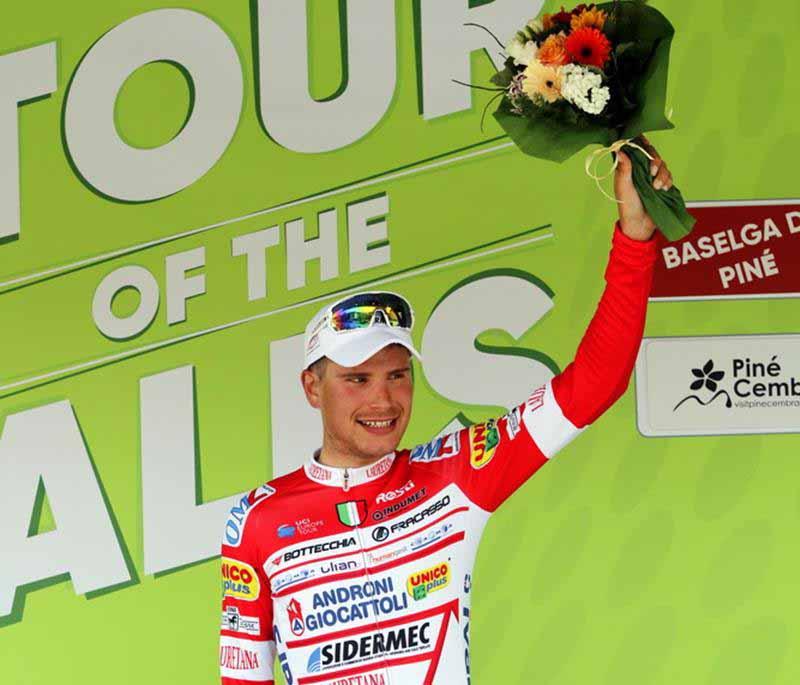 Fausto Masnada vincitore della terza tappa del Tour of the Alps (foto Photobicicailotto)
