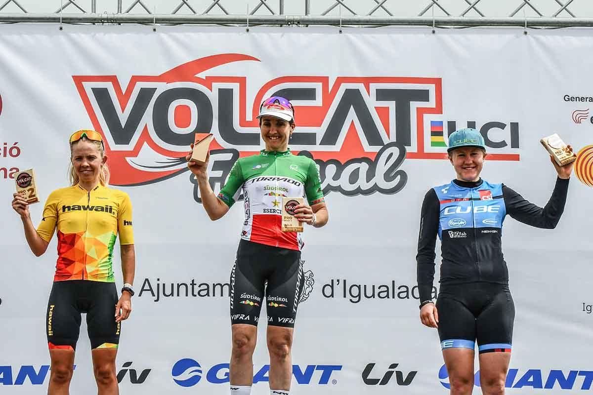 Il podio femminile della seconda tappa della Volcat 2019 (foto Ocisport)