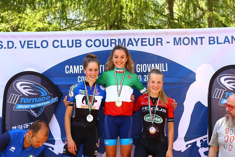 Il podio del Campionato Italia Donne Allieve 2° anno vinto da Giulia Challanchin