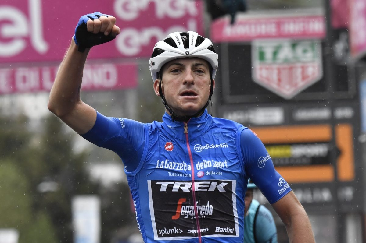 Giulio Ciccone vince a Ponte di Legno la sedicesima tappa del Giro d'Italia (foto LaPresse)