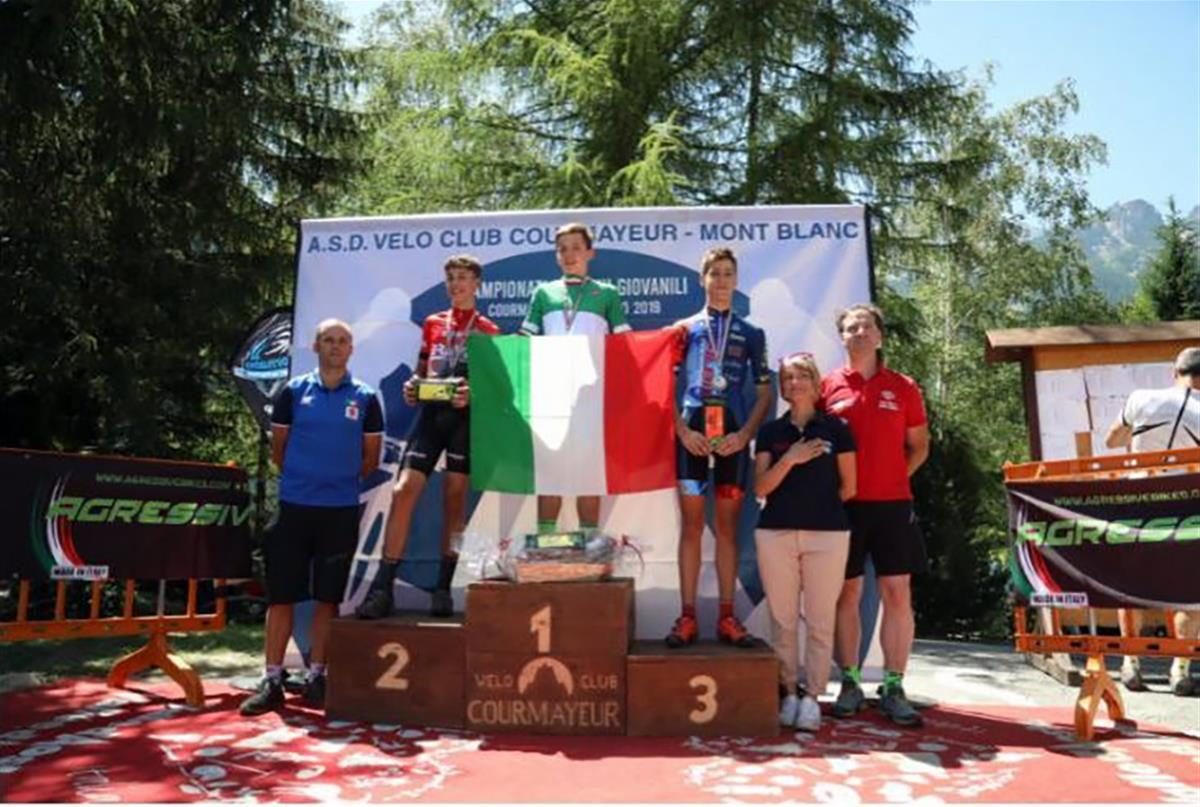 Il podio del Campionato Italiano Esordienti 1° anno vinto da Stefano Sacchet