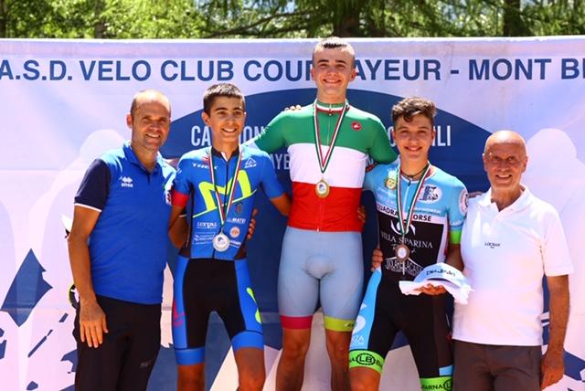 Il podio del Campionato Italiano Esordienti 2° anno vinto da Carlo Bonetto