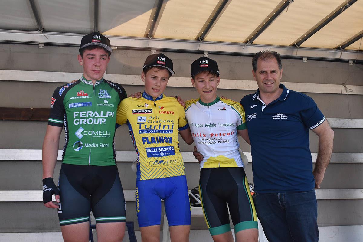 Il podio della gara Esordienti di Monticelli Brusati (foto Luca Bontempi)