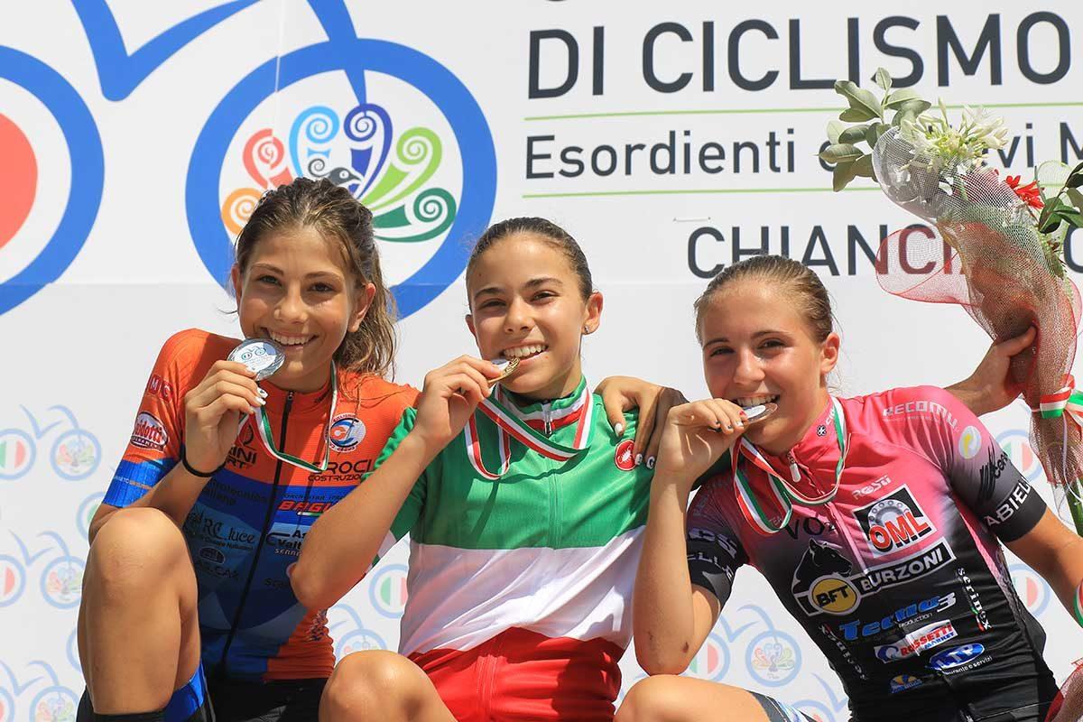 Il podio del Campionato Italiano Donne Esordienti 1° anno vinto a Chianciano Terme da Beatrice Temperoni (foto Fabiano Ghilardi)
