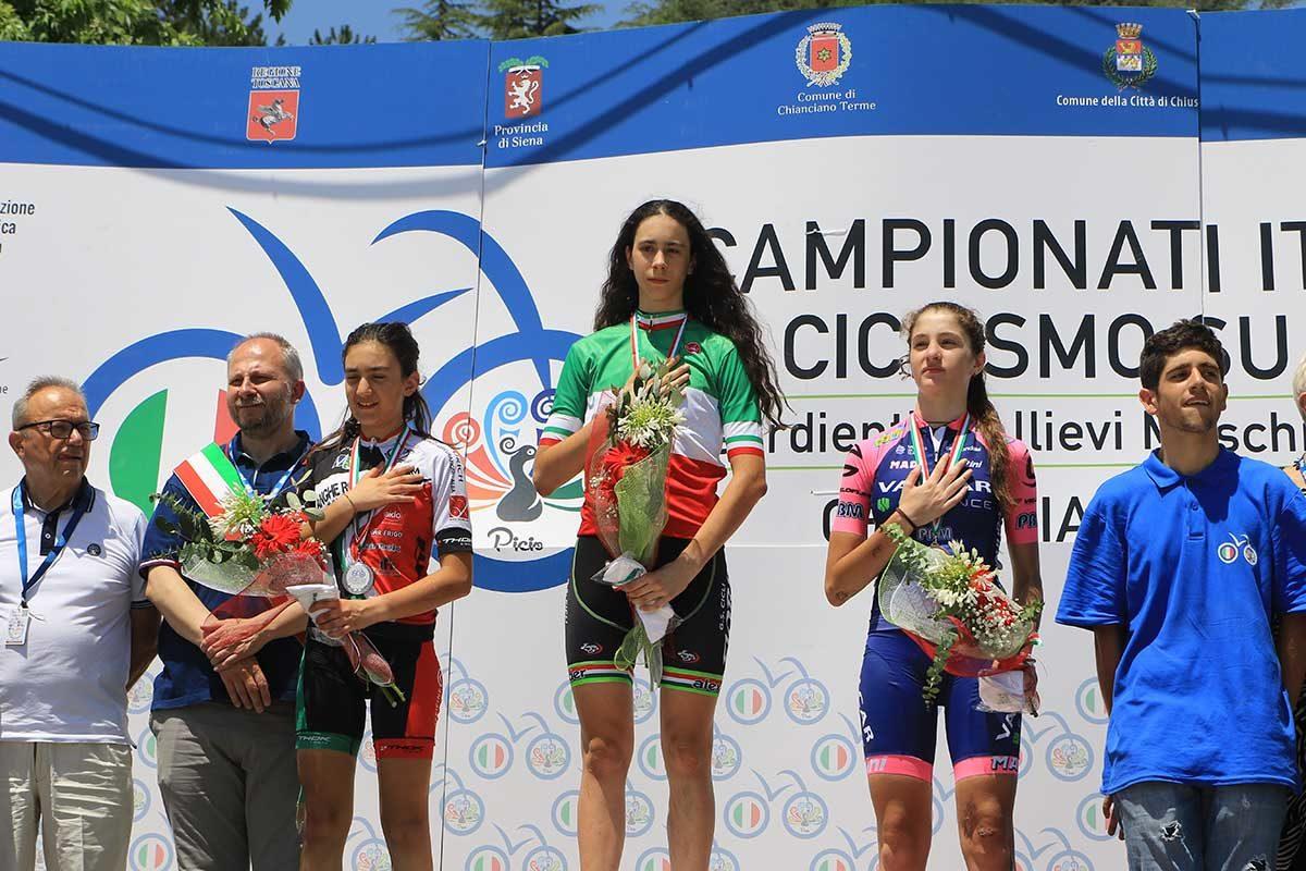 Il podio del Campionato Italiano Donne Esordienti 2° anno vinto a Chianciano Terme da Federica Venturelli (foto Fabiano Ghilardi)