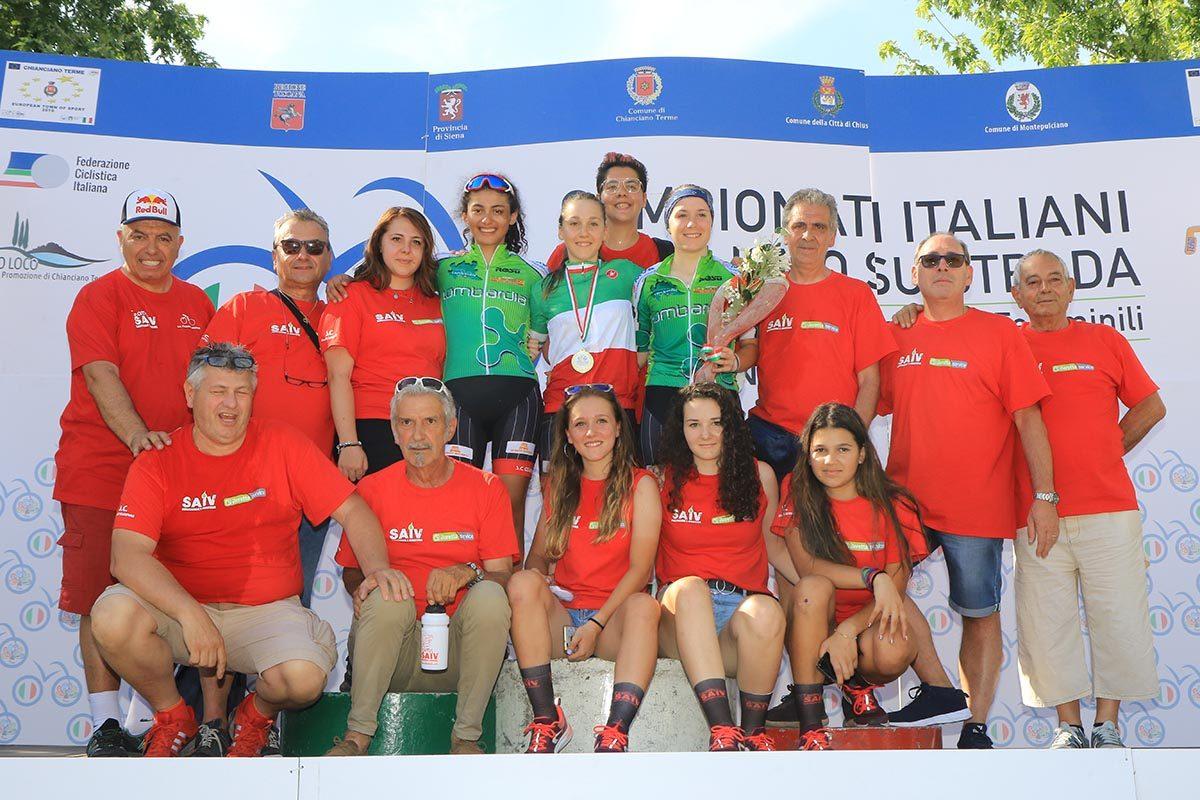 Il gruppo della Sc Cesano Maderno festeggia il tricolore di Valentina Basilico